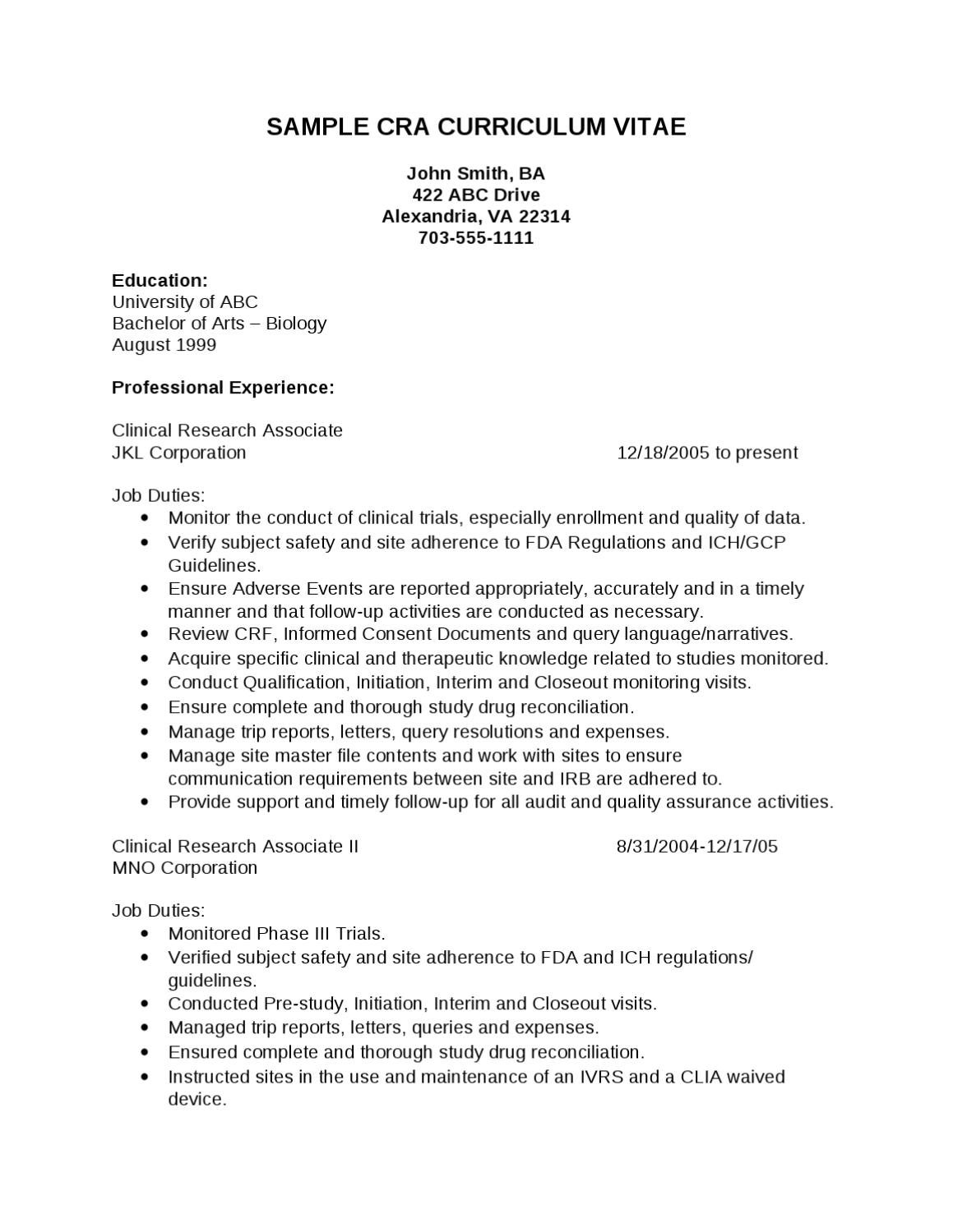 make a cra resume sle 28 images resume for clinical