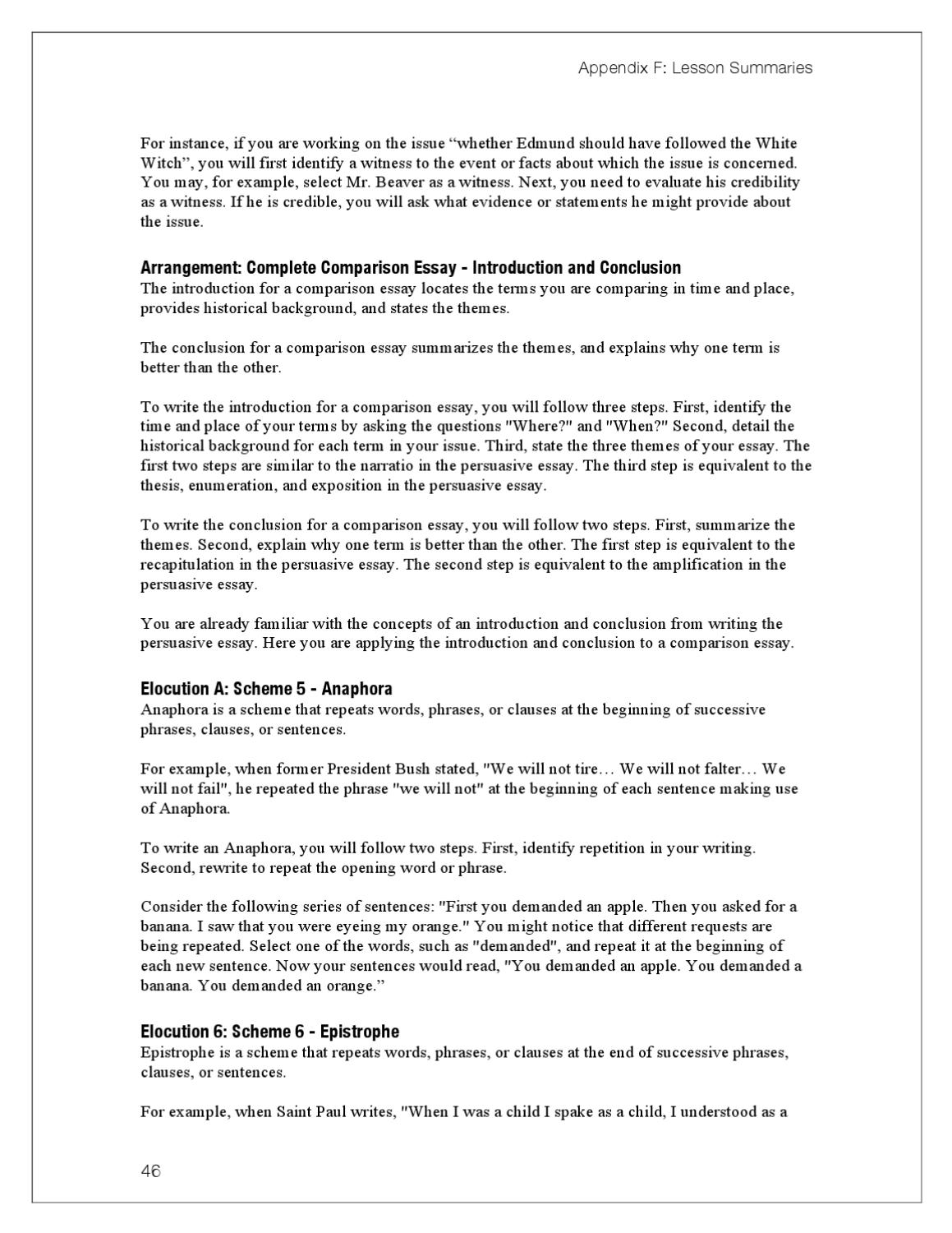 essay about literary example middle school