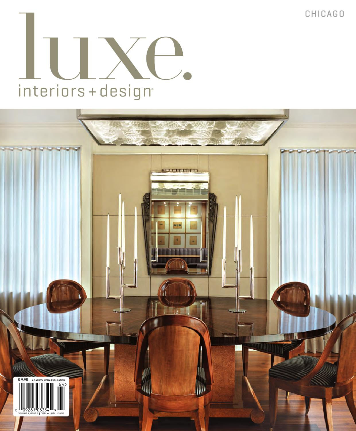 Issuu luxe interiors design chicago 16 by sandow media for Luxe furniture and design