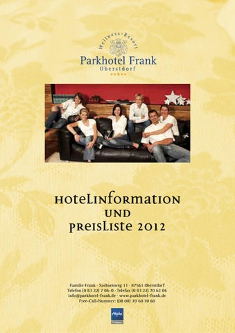 Alle Angebote 2012 des Parkhotel Frank in Oberstdorf