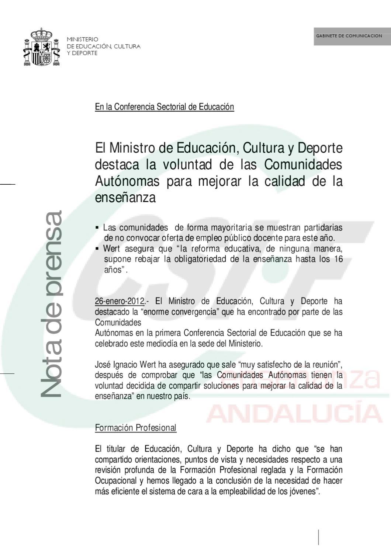 csif nota prensa ministro sobre oposiciones by csif