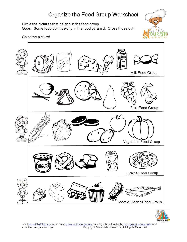 Food groups worksheets for grade 5