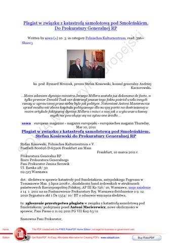 Plagiat, katastrofa pod Smolenskiem, Stefan Kosiewski Do Prokuratury Generalnej RP