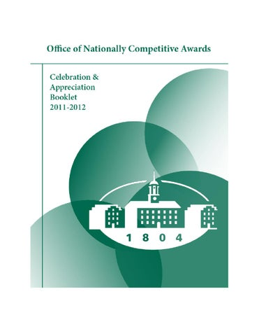 ... Nationally Competitive Awards Booklet 2012 by Honors Tutorial College