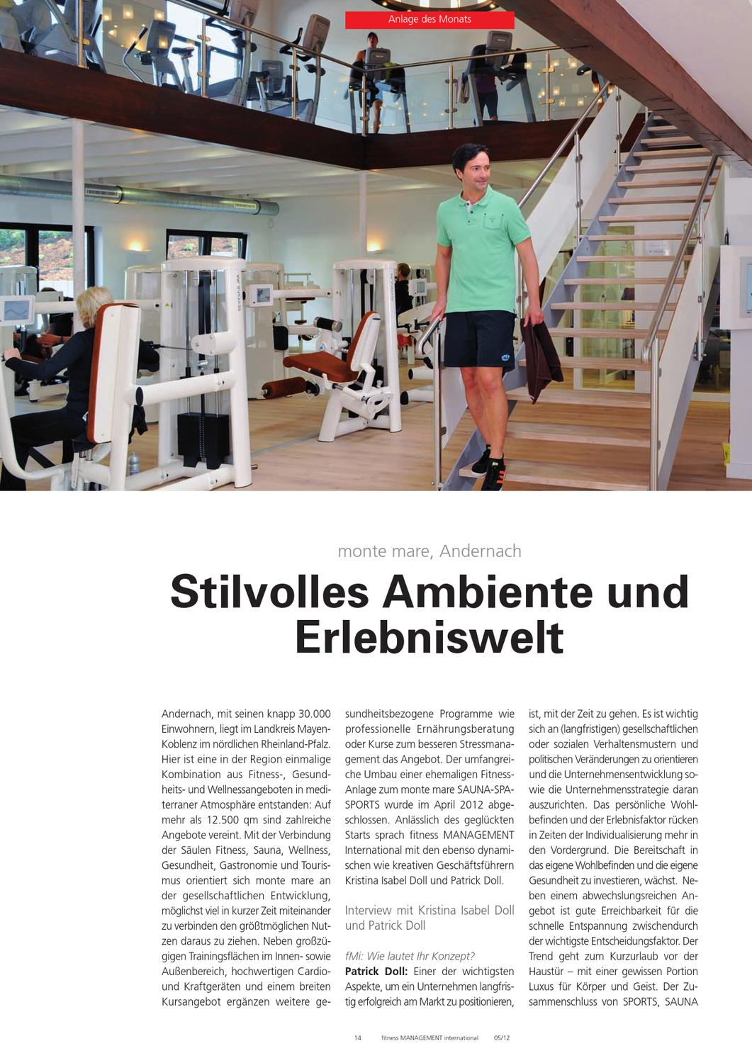 fitness Management international: Anlage des Monats - monte mare Andernach