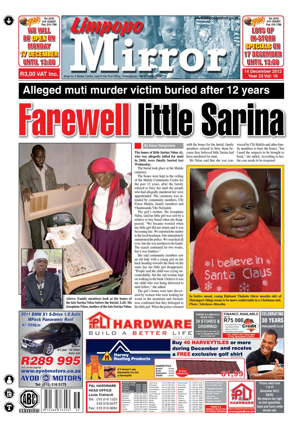 Campaigns >> ISSUU - Limpopo Mirror 14 December 2012 by Zoutnet