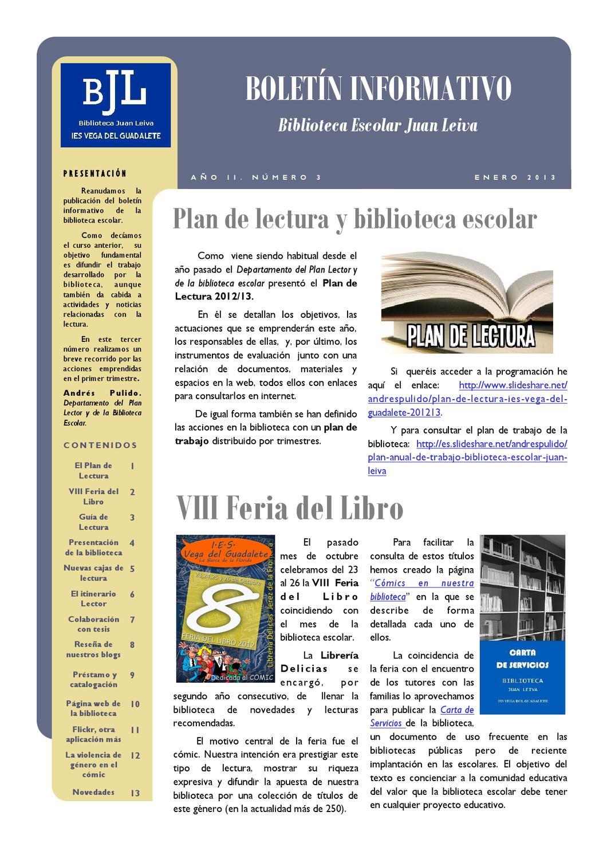 Issuu bolet n informativo de la biblioteca escolar juan for Funcion de un vivero escolar