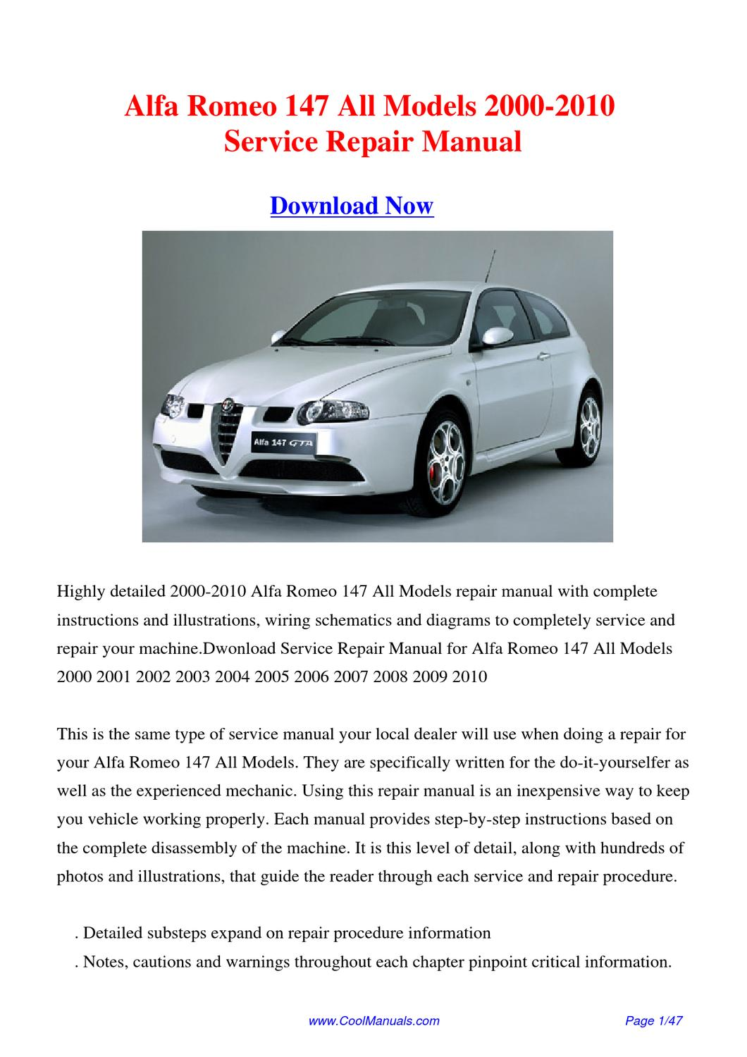 Free Alfa Romeo Repair Service Manuals Manual Gtv Download Carmanualshub