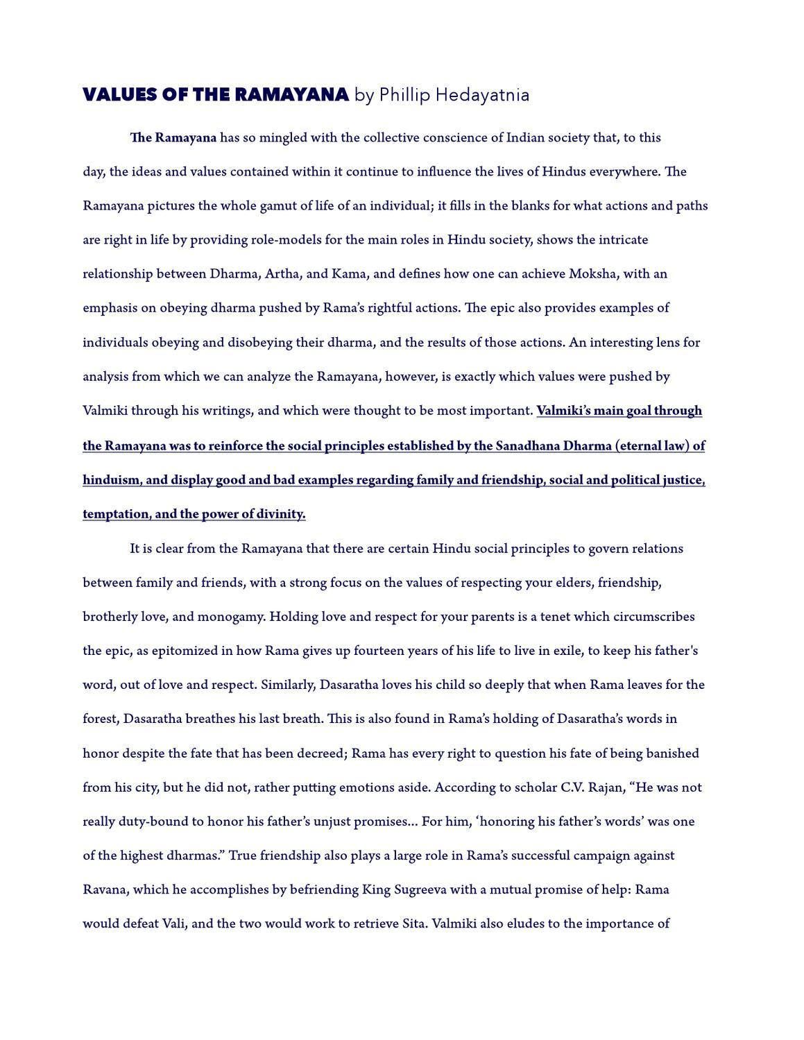 the ramayana essay example