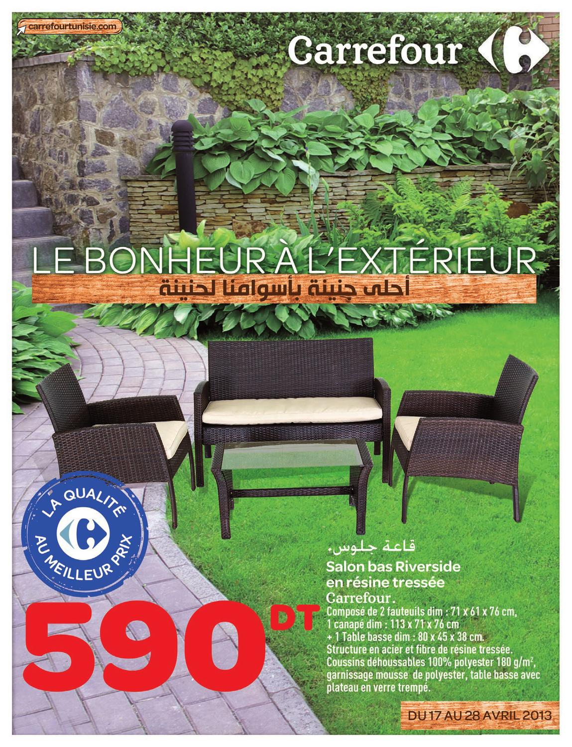 Issuu catalogue carrefour le bonheur l 39 ext rieur by for Salon de jardin blanc carrefour