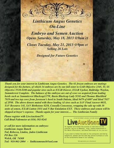 Linthicum Angus Genetics - Online Embryo and Semen Auction