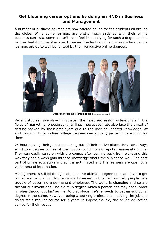 Business Management Business Management Career Options