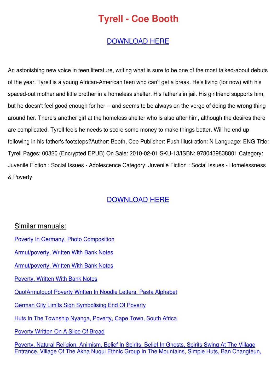 Tyrell Coe Booth 9780439838801 Books  Amazonca