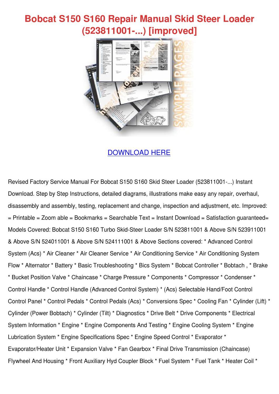 bobcat s150 skid steer loader service repair manual 2016 car release date