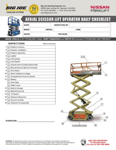 Aerial / Scissor Lift Operator Daily Checklist by bigjoelift (page 1)