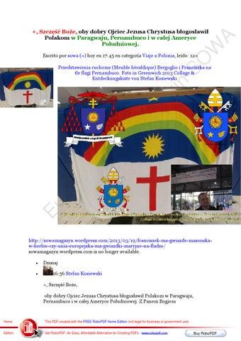 Przedstawienia ruchome (meuble heraldique) bergoglio i franciszka na tle flagi pernambuco foto in gr