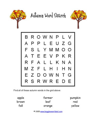 ISSUU - Werkblad autumn wordsearch easy by leerteam_engels