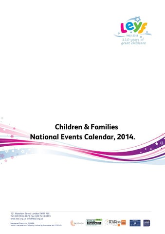 LEYF Children & Families National Events Calendar 2014