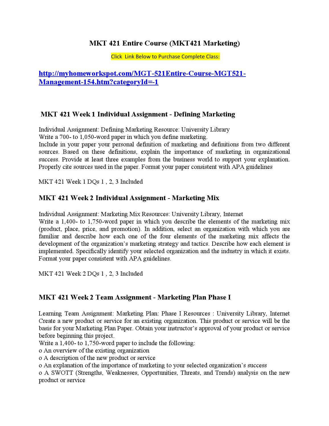 marketing mix analysis marketing 421