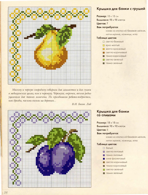 Схемы вышивки крестиком фрукты овощи