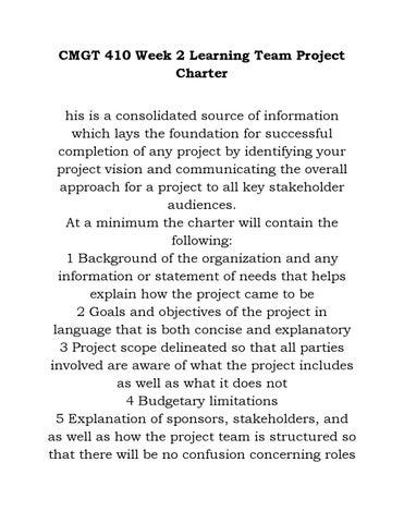cmgt 410 project charter and scope statement Write a project charter and a project scope statement essay.