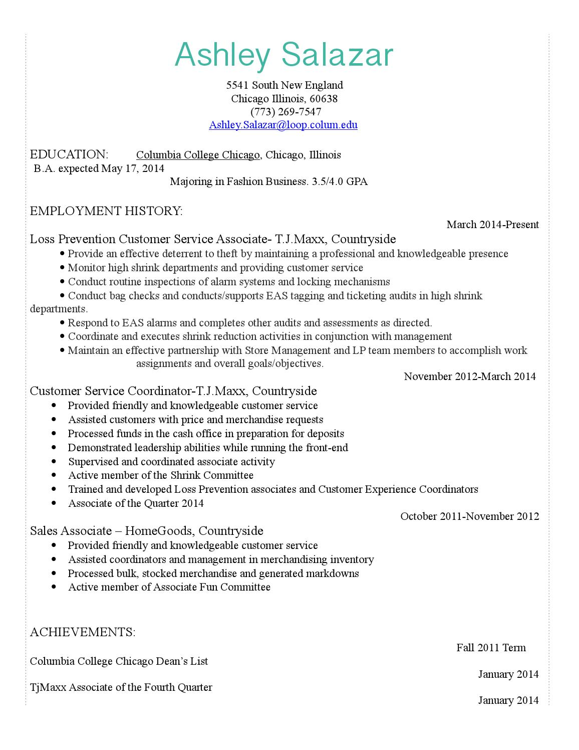 sample columbia college chicago resume help