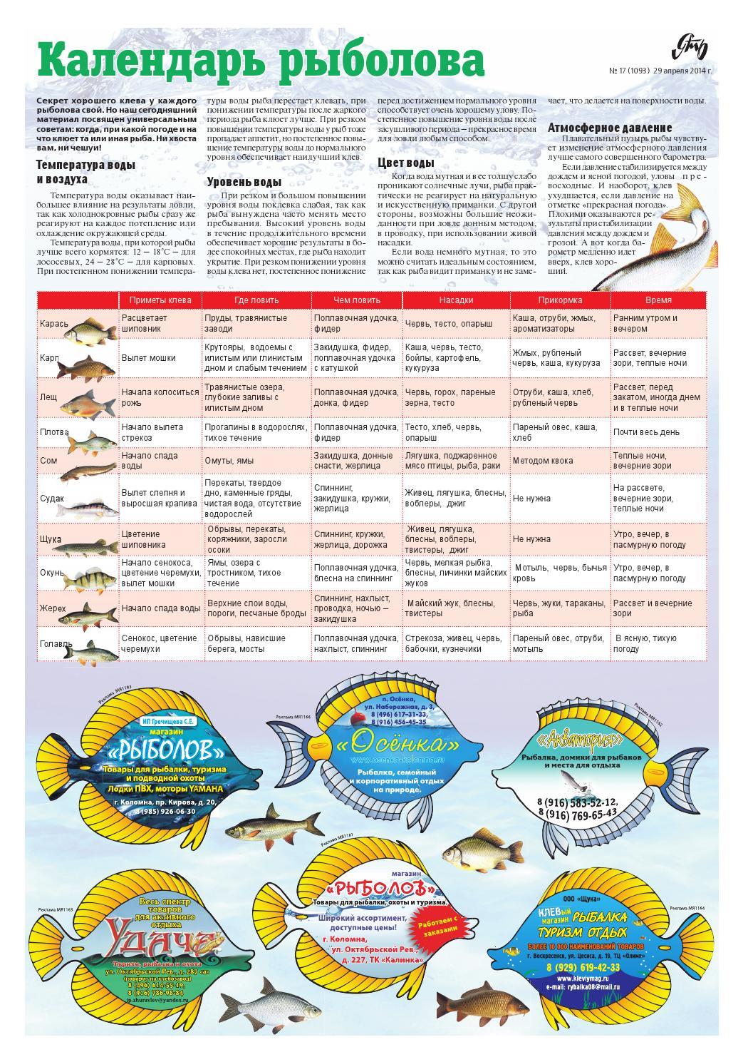 лунный календарь рыболова 2017 благоприятные