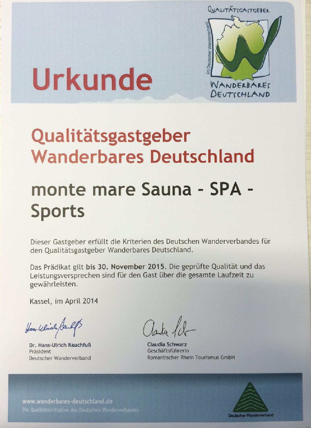 """Qualitätsgastgeber """"Wanderbares Deutschland"""" - monte mare Andernach"""