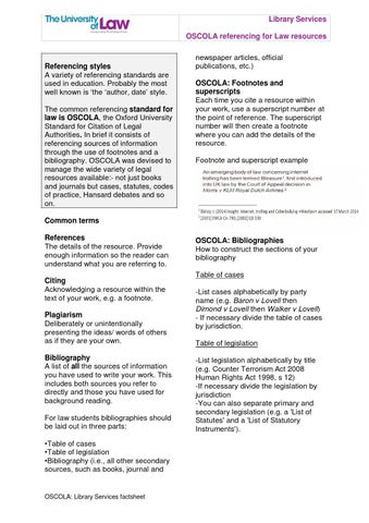 Oscola Library Services Factsheet V2 By Ulawlibraries Page 1