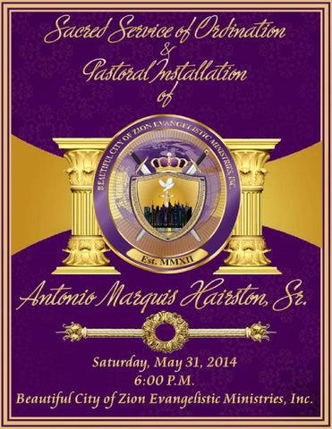 A. Marquis Hairston, Sr. Ordination & Installation Program by A Marquis Hairston Sr. (page 1)