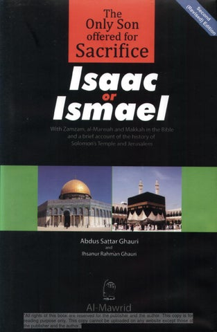 The Only Son Offered for Sacrifice: Isaac or Ismael