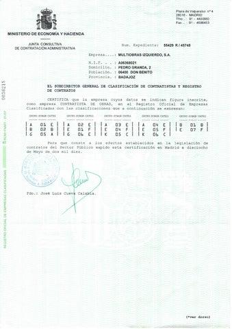 Clasificación de contratistas y registros de contratos -- Multiobras Izquierdo