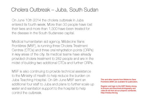 Cholera Outbreak in South Sudan, June 2014