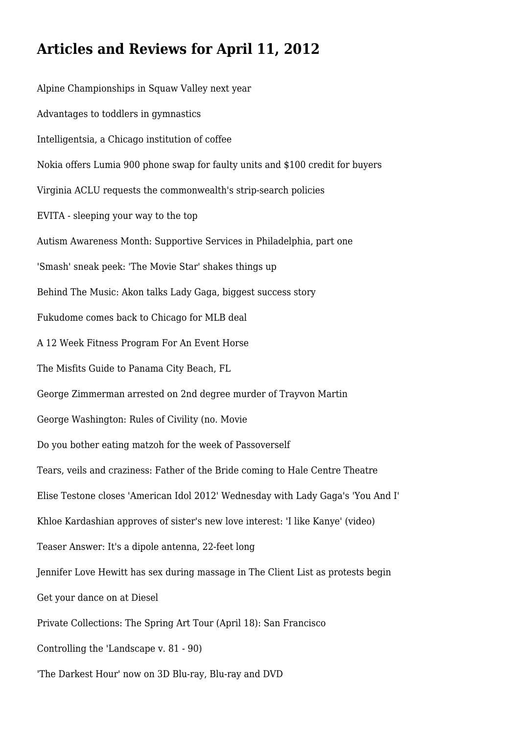 Articles and Reviews for April 11, 2012 by pricklycostume293 - issuu