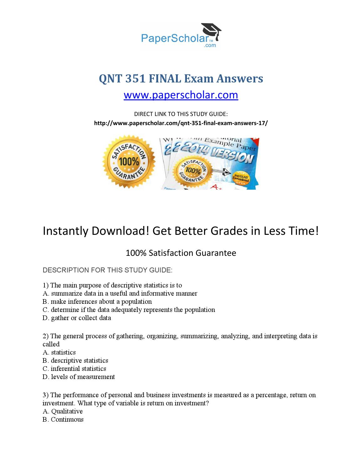 qnt 351 final answers Qnt 351 final exam using the relative frequency approach, what is the probability that a particular death is due to an automobile accident 16.