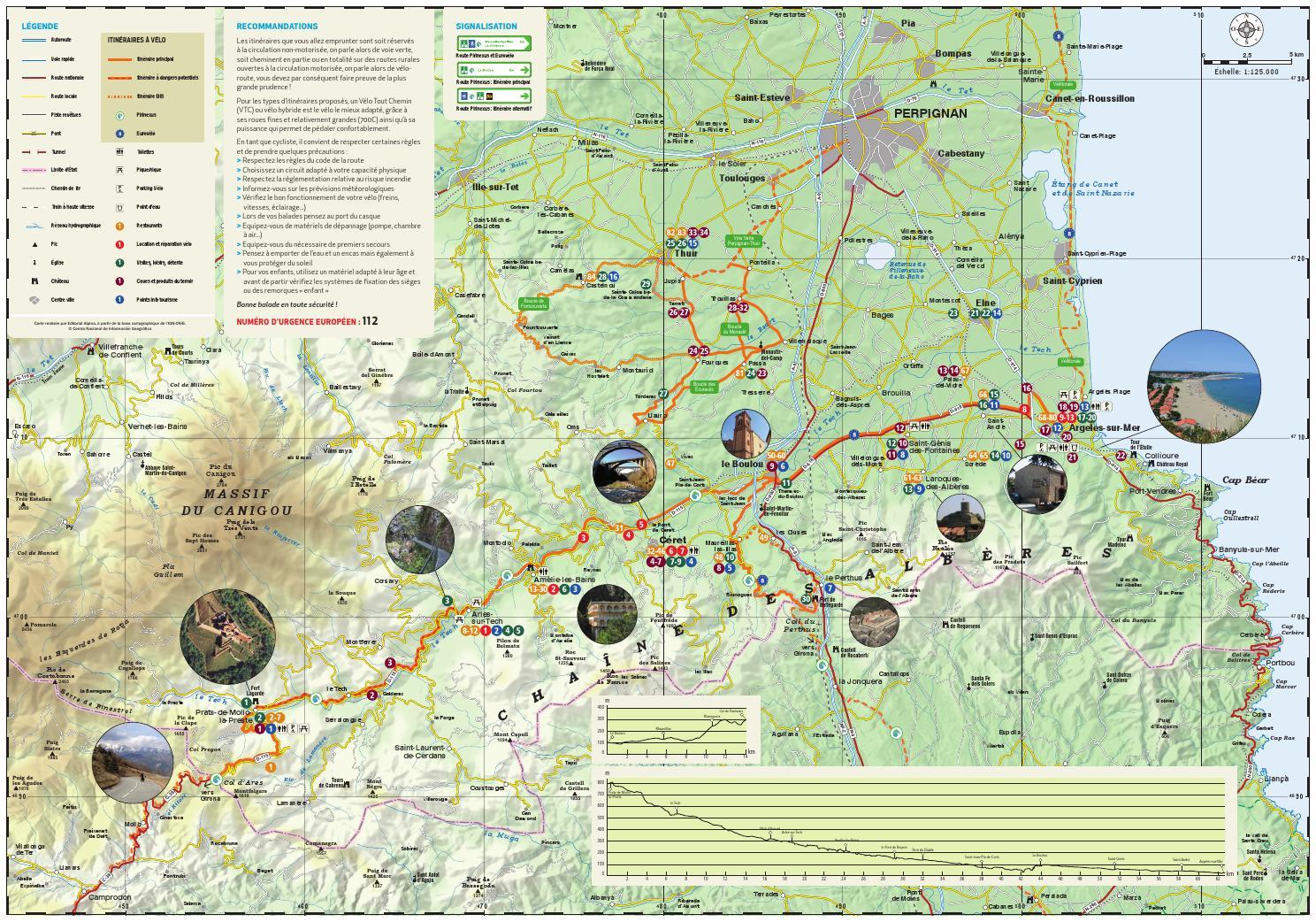 ISSUU - Carte itineraires velo route voie verte payspyrenees mediterranee by Argelès sur Mer