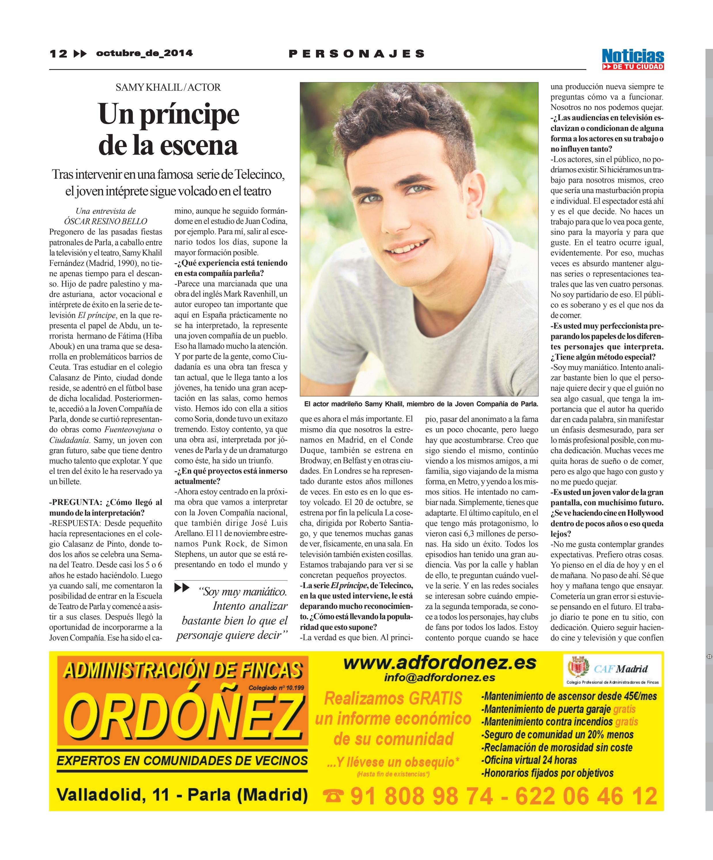Entrevista al actor Samy Khalil (Octubre'2014)