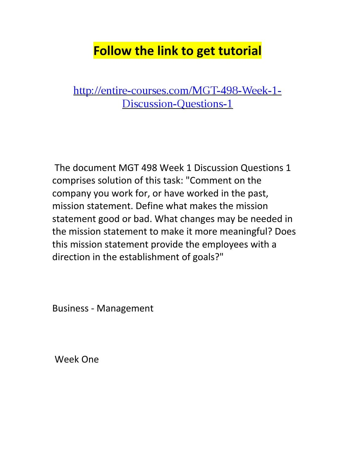 mgt 490 week 4 discussion questions