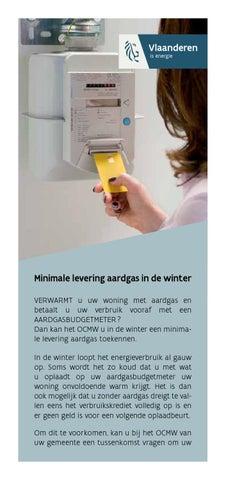 Minimale levering aardgas in de winter