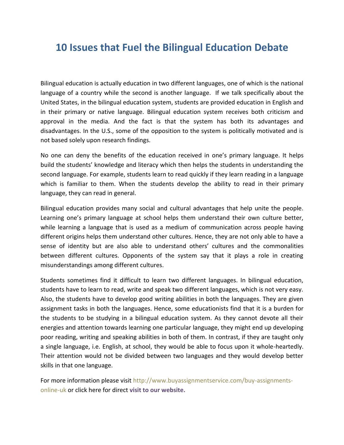 bilingual education 2 essay College papers college papers (paper 224) on bilingual education: brandy bruckert kim gunter rhetoric 105 25 november 1997 bilingual education: structurally ineffective bilingual education for language mino.