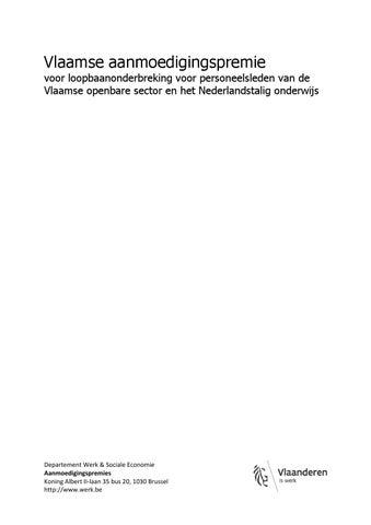 Vlaamse aanmoedigingspremie voor loopbaanonderbreking Vlaamse openbare sector en het Nederlandstalig onderwijs
