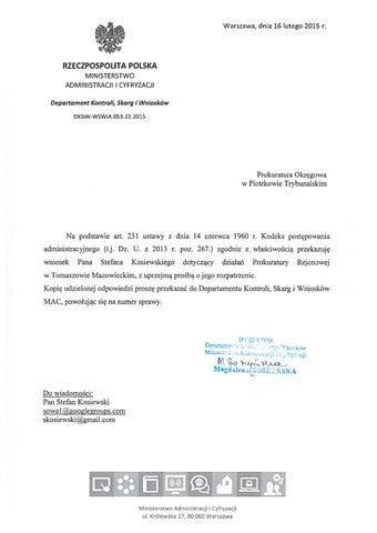 RP Ministerstwo Administracji DKSiW 16 02 2015 Prokuratura Okręgowa Piotrków Trybunalski cover