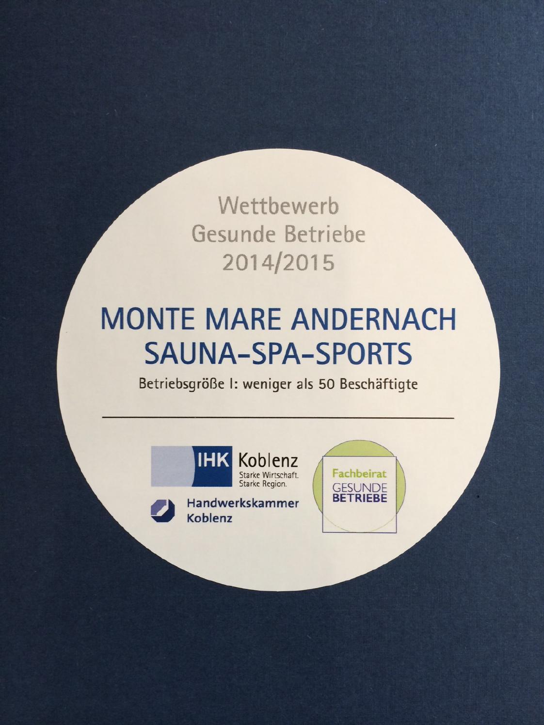"""Auszeichnung """"Gesunde Betriebe"""" der IHK - monte mare Andernach"""