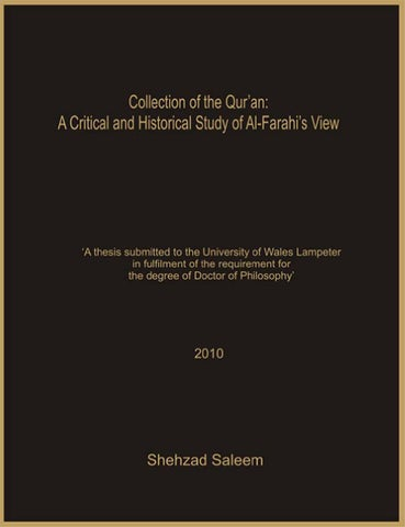 Collection of the Qur'an: A Critical and Historical Study of Al-Farahi's View