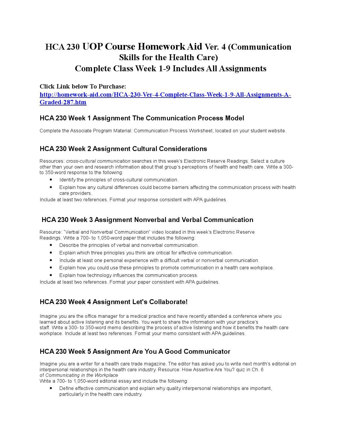 hca 230 communication skills for health Verbal and nonverbal communication angelina hopson hca/230  communication skills for the health care professional 2/19/2012 felencia h  mcgee verbal.