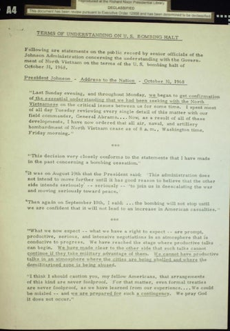 Johnson bomb halting statement october 31, 1968, Page 1