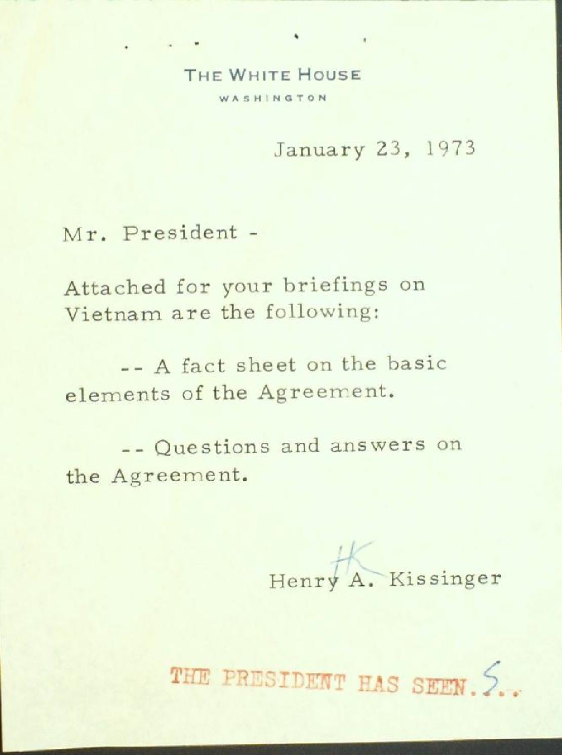 Henry Kissinger Reports On The Ceasefire To President Nixon