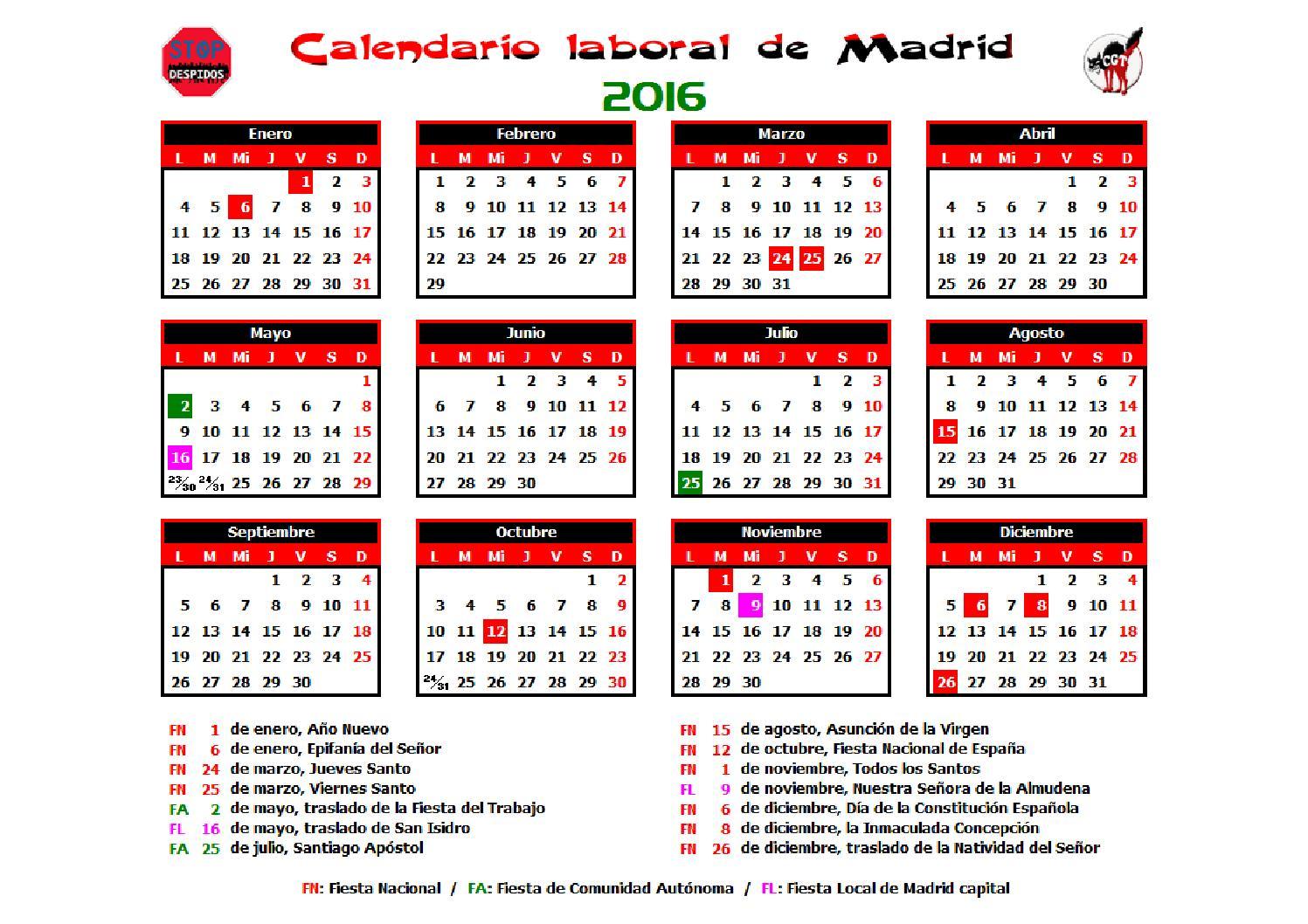 Calendario Laboral 2016 Madrid by CGT Atos