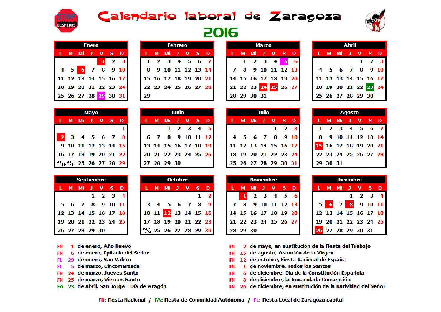 Calendario Laboral 2016 Zaragoza by CGT Atos