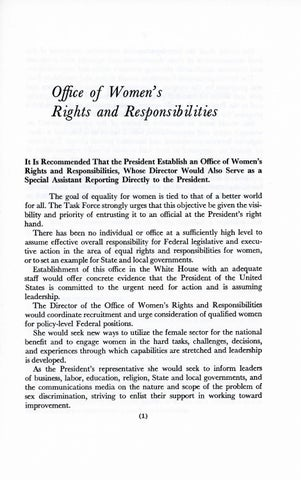 A Matter of Simple Justice - Report of the President's Task Force on Women's Rights, Page 10